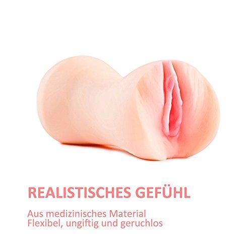 3D Realistischer Masturbator Vagina Pocket Pussy, Oral Silikon Vagina Taschenmuschi Sexspielzeug Stroker für Männer mit TPR Material 100% Wasserdicht