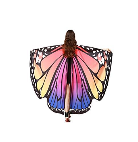 (Fannyfuny Frauen 168 * 135CM Weiche Gewebe Schmetterlings Flügel Schal feenhafte Schmetterling Flügel Schal Schals Damen Weihnachten Cosplay Poncho Kostüm Zubehör)