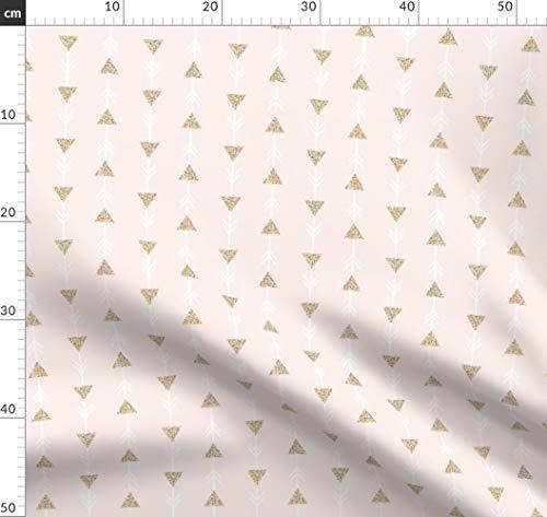 Pfeile, Dreiecke, Glitzer, Gold Glitter, Blasses Rosa, Elizabeth Ivie, Stoffe - Individuell Bedruckt von Spoonflower - Design von Ivieclothco Gedruckt auf Leinen Baumwoll Canvas -