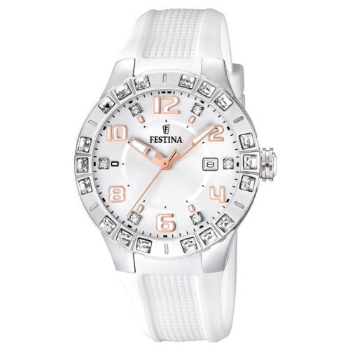 Festina Ladies Analogue Watch F16560/1 with Rubber Strap and Silver Dial