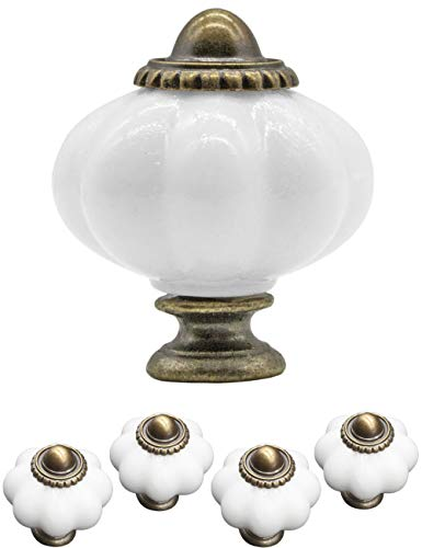 FUXXER® - 4x Griffe Antik Knöpfe | Landhaus Vintage Design Bronze Messing Möbel Küche Buffet | 38 x 30mm | Keramik Flower Design, 4er Set inklusive Schrauben -