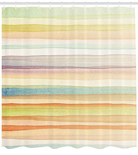 MLNHY Pastel Shower Curtain, Horizontal Watercolors Stripes Acrylic Artistic Elements Liquid Brushstrokes Print, Fabric Bathroom Decor Set with Hooks, Pastel Colors,Size:66W X 72L Inche