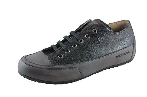 Candice Cooper Rock 02 schwarz Fish (geprägtes Leder) Base Antracite Damen Sneaker Größe 41 - Geprägt Kalb Leder