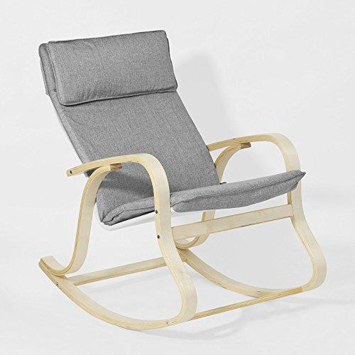 Promotion -15%! SoBuy® FST15-DG Rocking Chair, Fauteuil à bascule, Fauteuil berçant, Fauteuil relax, Bouleau Flexible -Gris