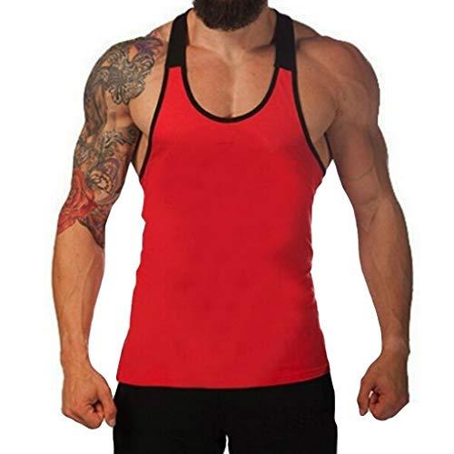 CICIYONER Herren Tanktop Tank Top Tankshirt T-Shirt Unterhemden Ärmellos Muskelshirt Sport Rot Schwarz Gelb S M L XL XXL - Easy Care L/s Shirt