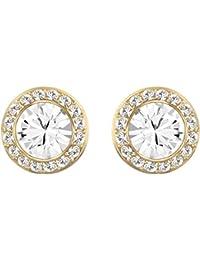 Clous d'oreilles Swarovski Angelic, cristal blanc, métal doré, pour femme