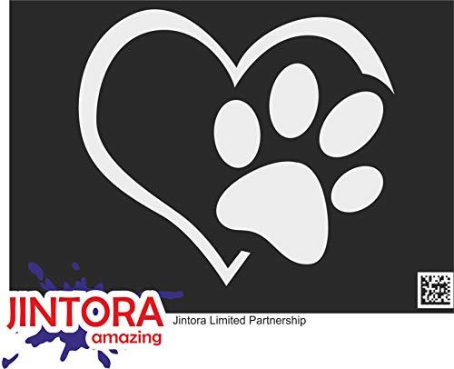 JINTORA Sticker - Adesivo - Adesive da Auto - Bear Zampa con Il Cuore - 196x99 mm - JDM - Die Cut - Auto - Finestra - Laptop - Tuning - Argento
