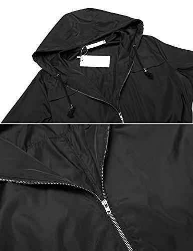 Coorun giacca di pioggia casuale del cappotto del manicotto lunga con cappuccio casuale delle nuove donne nero 2