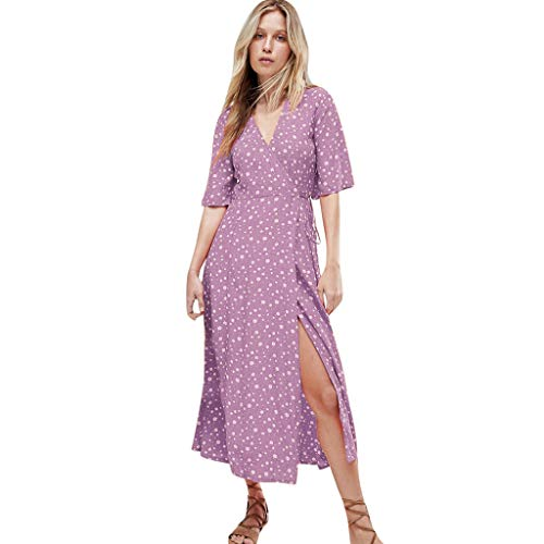 WoWer Damen Kleid | Bohemian V-Ausschnitt Dot Print Gurtband Split Split Strandkleid | Sexy Elegantes DüNnes Kleid | Sommerurlaub Club Party Cocktail Abendkleid [S-XXL] Sexy Petticoat Teardrop