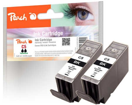 Peach PI100-219 Ink Cartridge for Canon PGI-5bk, 0628B001 with Chip