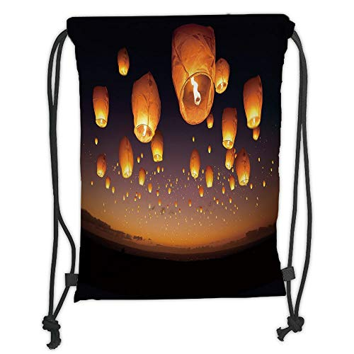LULUZXOA Gym Bag Printed Drawstring Sack Backpacks Bags,Night Sky,Asian Ceremony Wish for Luck Balloons Chinese Flying Lanterns Scenery Image,Orange and Black Soft Satin -