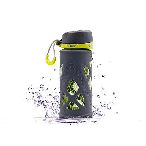 SZPLUS 650ml/480ml botella de cristal con silicona manga amapola Deportes Borosilicato Botella...