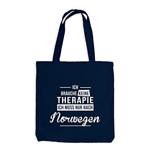 Preisvergleich Produktbild Jutebeutel - Ich Brauche Keine Therapie Norwegen - Therapy Urlaub Norway, Navy