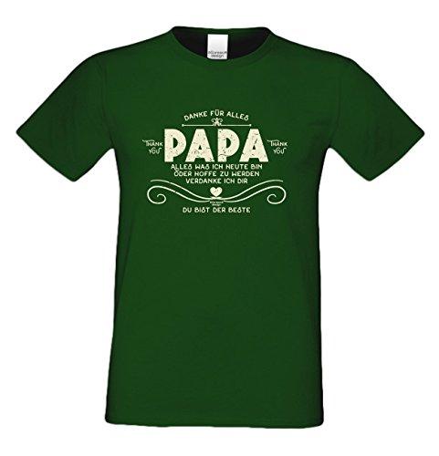 Vater, Vatertag, Vatertagsgeschenk T-Shirt Funshirt Danke Papa Geschenkidee, Geschenkset, auch in Übergröße Farbe: dunkelgrün Dunkelgrün