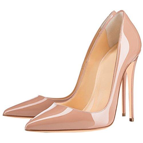 Sexy et Plus on Pumps ENMAYER Size Pointe Heel High Femmes Slip Imprimer Stiletto Toe Abricot Dégradé Chaussures RqnFp5