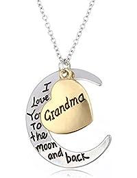 Familia de rosimall especial collar con colgante luna y forma de corazón Mujer hembra Fashion Jewelry–para abuela