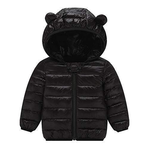 Yanhoo Kleinkind Wintermantel Daunenjacke Kurz Winter Einfarbig Warme Parka Mantel Jacke Windproof Coat mit Kapuze Duffle Outerwear Trenchcoat mit Ohren