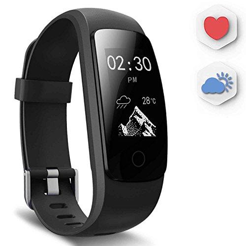 Ausun Fitness Armbänder mit Herzfrequenz, 107HR Plus Wasserdicht Activity Tracker mit Schrittzähler, Schwimmen Fitness Watch mit GPS für iOS Android Smartphone, Schwarz