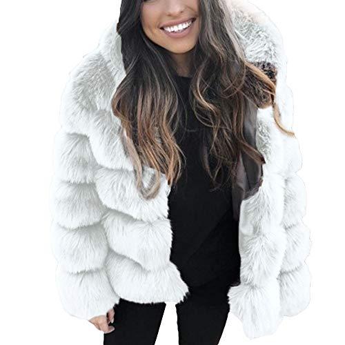 TWBB Damen Mantel Winter Warm Outwear Elegant Warm Faux Fur Kunstfell Jacke Strickjacke Coat