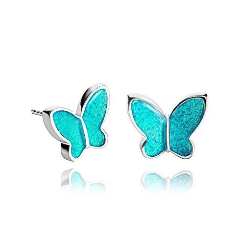 Orecchini a Lobo Motivo Farfalla color Blu Topazio da 0,47 pollici Brillanti per Adolescenti