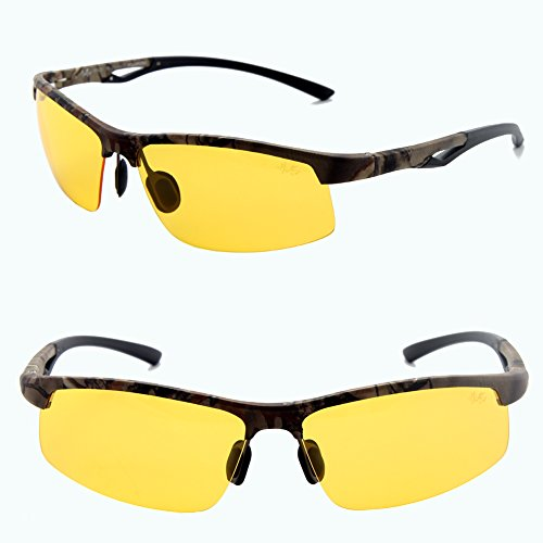 Männer Frauen Stil polarisierte Sonnenbrille Metallrahmen Sportbrillen (Camo, Gelb)