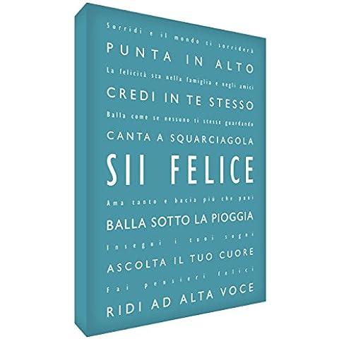 Feel Good Art BH Sii Felice Quadro su Tela da Muro, Stile Tipografico Moderno