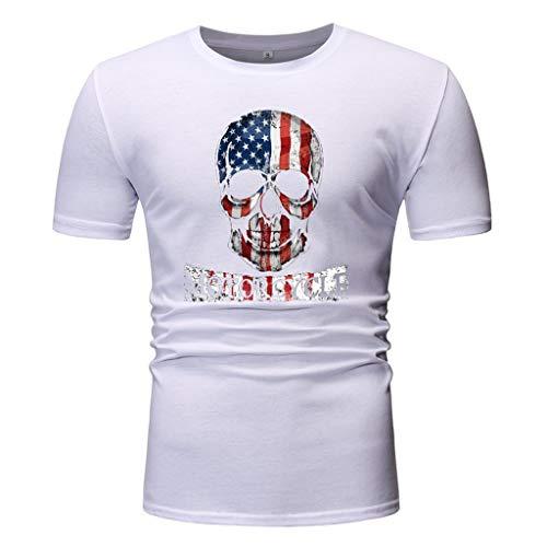 uckAmerika Motive Shirt mit USA Flaggen Druck Stars Stripes Weisskopfadler Sommer O-Neck T-Shirt Tops Blusen Teenager Mädchen Mode Sport Casual Blusen Shirt Hemd Frauen Kurzarm ()