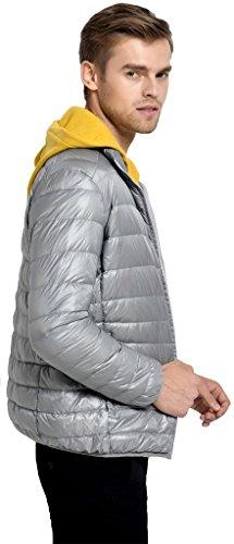 Sawadikaa Herren Ultra Leicht Verpackbar Stehkragen Winter Kissen Daunenjacke Hellgrau