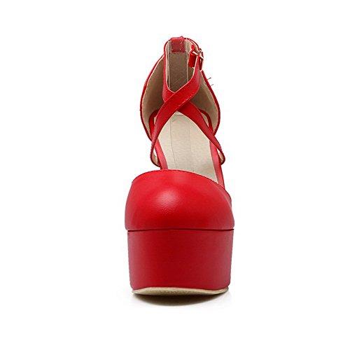 AgooLar Femme Rond à Talon Haut Matière Souple Couleur Unie Boucle Chaussures Légeres Rouge