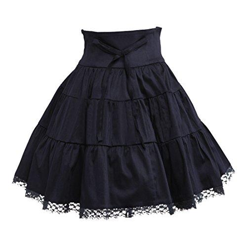 Partiss Damen Baumwolle Gehaekelt Lace Lolita Skirt M Black (Victorian Lace Brautkleid)
