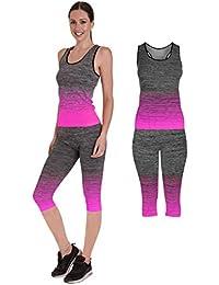 Bonjour - Conjunto de Ropa Deportiva para Mujer (2 Piezas, Parte Superior y Leggings) para Yoga y Gimnasio, 3/4 Length Vest Top Pink, One Size (UK 8-14)