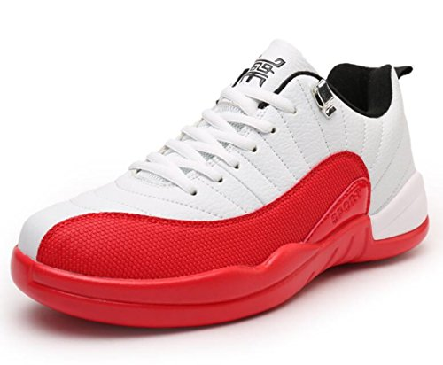 Men's Comfortable Outdoor Athletic Basketball Shoes White Red