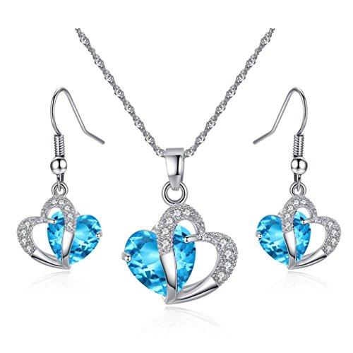 JewelleryClub Plata Azul Swarovski Elements Cristal Corazón Collar Y Aretes Conjuntos para Mujeres