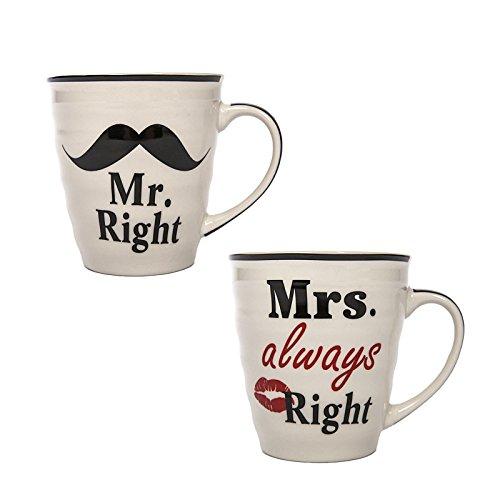 2er Kaffeetassen Set 'Mr' und 'Mrs' Porzellan 280ml always Right im Geschenkkarton