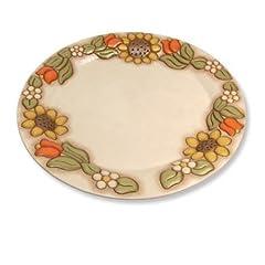 Idea Regalo - THUN Centrotavola Grande-Ceramica-Linea Country-con Girasoli