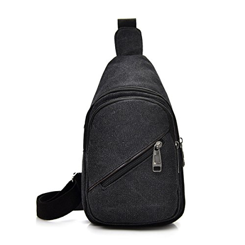 BULAGE Tasche Brusttasche Männer Frauen Messenger Lässig Leinwand Rucksäcke Handtaschen Schulter Sport Mode Outdoor Black