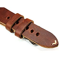 Rios Leather White Stitching 20mm Ribbon Retro Quality STRAPL Brown Military Naval Air-Top Quality