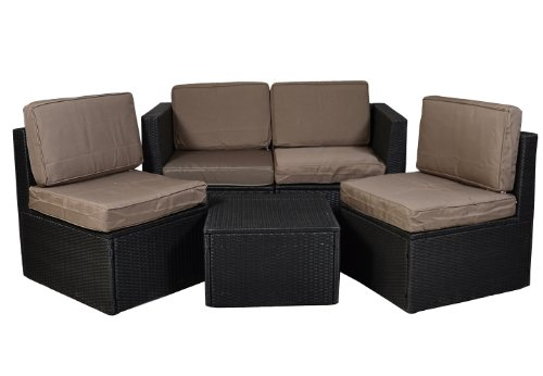 Nexos Gartenmöbel 5tlg Set Sitzgruppe Poly Rattan Lounge Garten Garnitur Couch ecru