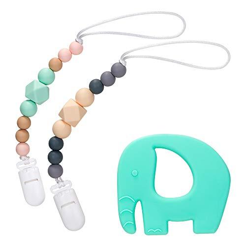Lukovee Schnullerkette Clip, 2er Pack Unisex Modern Designs Perlen Beißring Halter Set & BPA frei Silikon Elefant Baby Greiflinge, Fit für Neugeborene Kleinkinder Kauen (Erhalten Mädchen Decken Kleinkind)