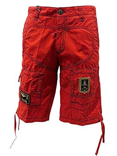 Aeronautica militare pantalone bermuda uomo rosso tasche tg s n4/49