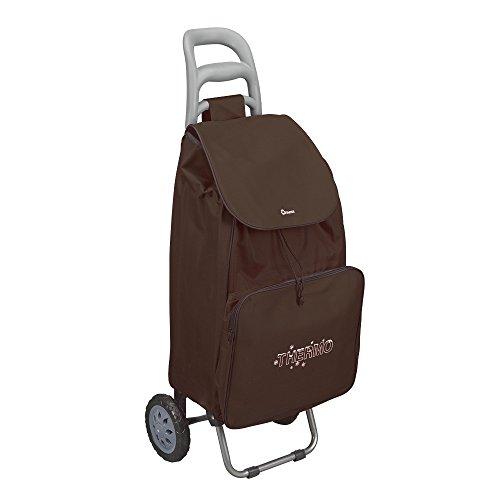 Metaltex 50 Liter Einkaufstrolley 'KROKUS' mit Kühltasche - faltbar - waschbare, abnehmbare Tasche - leichtgängige, robuste Kunststoff-Räder (Braun)