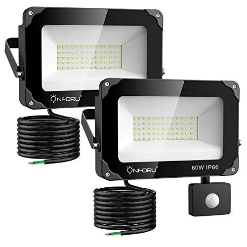 Onforu 2er Pack 60W LED Strahler mit Bewegungsmelder 6000LM | Superhell LED Außenstrahler Fluter Flutlicht 5000K Tageslichtweiß | IP66 Wasserfest | Ideale Außenbeleuchtung für Garten, Garage, Hof ect.
