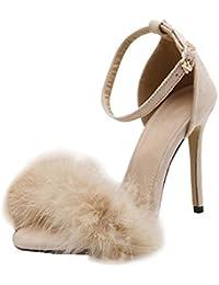 bb792a48182288 Juleya Frauen Sommer Sandalen Damen Kätzchen High Heel Sandaletten Feder  Adorn Schnalle Ankle High Heels Offene