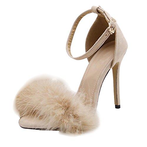 Juleya Sandali Donna Sandali Estate Sandali Tacco Alto Gattino Piuma Adornata Fibbia alla Caviglia Tacchi Alti Scarpe Open Toe