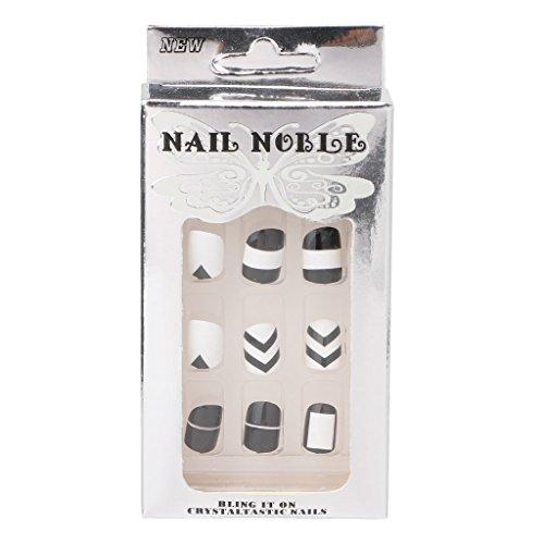 Longsw 24 Pcs/Set Beauté Noir + Blanc Faux Ongles Acrylique Plein Conseils Nail Autocollants Outil
