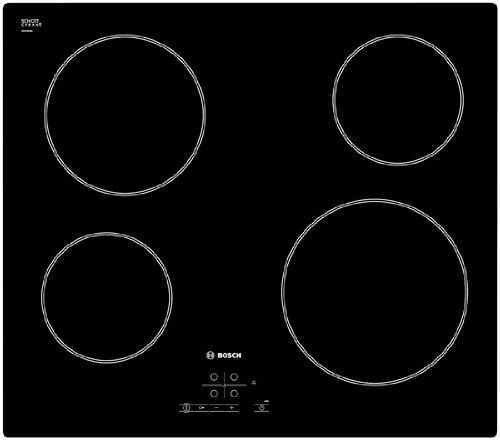 Bosch PKE611B17E - Piano di cottura elettrico, piastra, incorporato, in Ceramica-Vetro, Nero