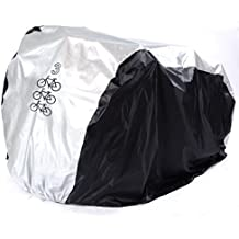 hapway® polímero Tejido impermeable resistente al agua impermeable al aire libre doble doble dos bicicleta cubierta para bicicleta de dos o tres–Bicicletas para Mountain Road, eléctricas y bicicletas Cruiser, Black with Silver Top