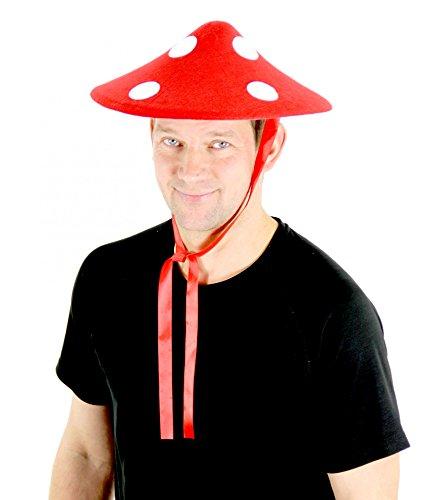 Pilz Fliegenpilz Kostüm - Foxxeo 35062 | Fliegenpilz Hut Fliegenpilzhut Sonnenhut zum Schnüren aus Filz Glückspilz Hut gepunktet rot weiss