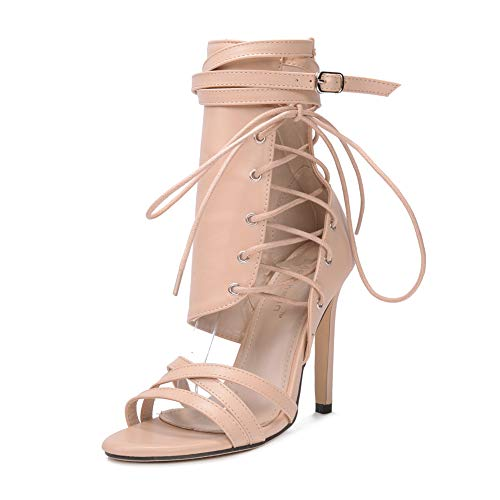 Lxmhz Womens High Heel, Strappy Stiletto Pumps Ankle Strap Open Toe Platform Party Shoes Clubbing Heels,Beige,US5.5/EU36/UK3.5 Ankle Wrap Strappy
