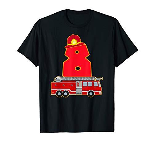 8. Geburtstag Feuerwehr Auto T-Shirt Feuerwehrmann Kostüm (Rot Feuerwehrmann Kostüm Frauen)